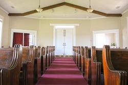 The aisle of a church in Rockwall, Texas
