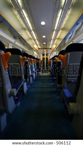 The aisle of a modern railway carriage.