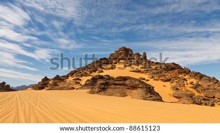 The Akakus Mountains are full of strange sandstone rock formations. Sahara Desert, Libya.
