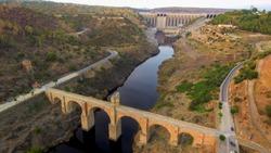 The Alcántara Bridge. Roman bridge at Alcántara, in Extremadura, Spain. Drone Photo