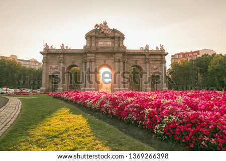 The Alcala Door (Puerta de Alcala). It was the entrance of the people coming from France, Aragon, and Catalunia. Landmark of Madrid, Spain #1369266398
