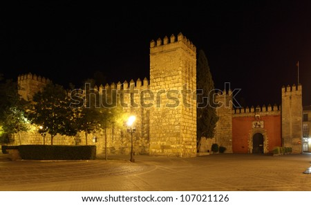 The Alcazar of Seville at night. Andalusia Spain