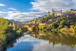 The Alcazar of Toledo from the Alcantara Bridge, Castile-La Mancha, Spain