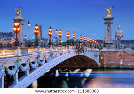 The Alexander III Bridge across river Seine in Paris, France.