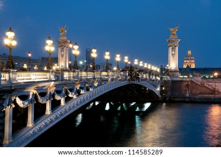 The Alexander III Bridge across  Seine in Paris, France.
