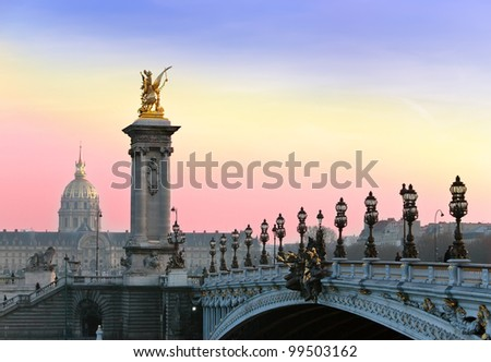 The Alexander III Bridge. Paris,Sunset.