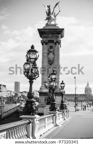 The Alexandre III bridge with the Invalides in the background