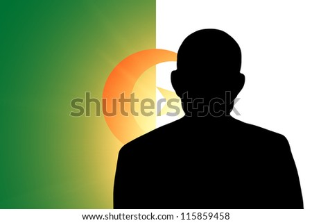 The Algerian flag and the silhouette of an unknown man