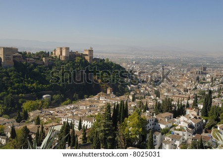 The Alhambra in Granada Spain seen from the old city. The Alhambra is an UNESCO World Heritage site