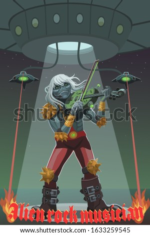 The alien rock musician plays the violin the new technology of strings on energy makes the melody touching and it touches the minds of creatures with joy and sadness