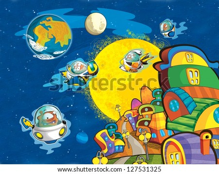 The  aliens subject - ufo - for kids - kindergarten - menu - screen - space for text - happy and funny mood