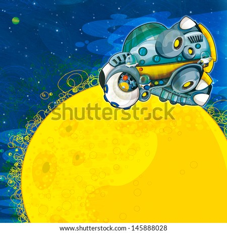 The aliens subject - ufo - star - kindergarten - menu - screen - space for text - happy and funny mood - illustration for the children
