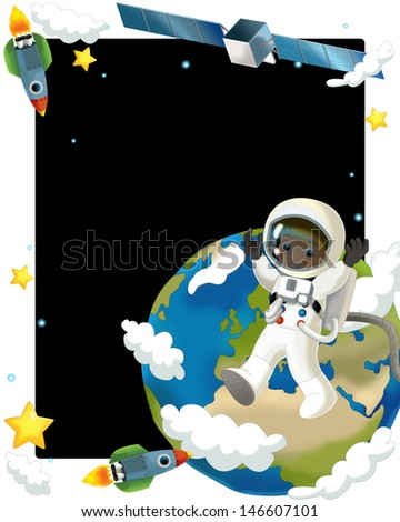 The aliens subject - ufo - star - kindergarten - menu - screen - space for text - happy and funny mood - illustration for the children, XXL file