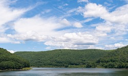 The Allegheny Reservoir in Warren County, Pennsylvania, USA on a sunny summer day. The reservoir leads into Kizua Dam which the Allegheny river flows from.