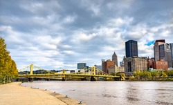 The Allegheny River in Downtown Pittsburgh - Pennsylvania, the United States
