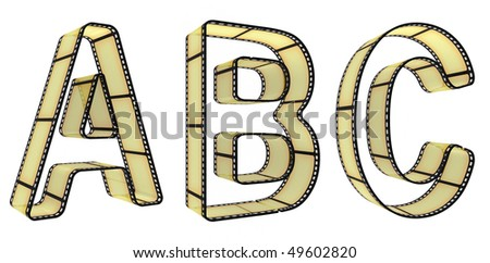The alphabet from a film isolated on a white background