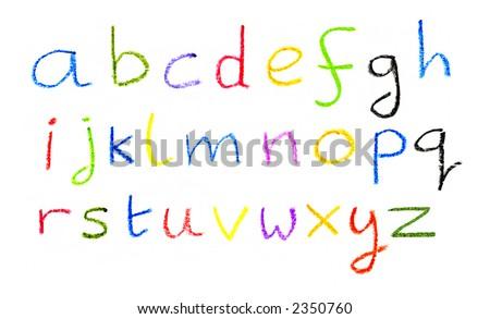The alphabet written in crayon.