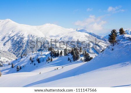 The Alpine skiing resort in Austria Zillertal