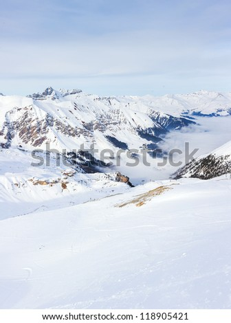 The Alpine skiing resort in Austria Zillertal. Vertical panorama