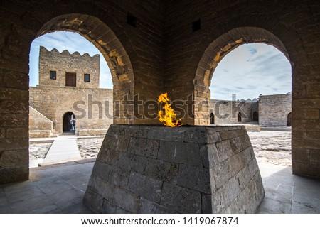The altar in the Ateshgah of Baku - The Fire Temple of Baku, located in the town Surakhani on Absheron Peninsula, near Baku, Azerbaijan