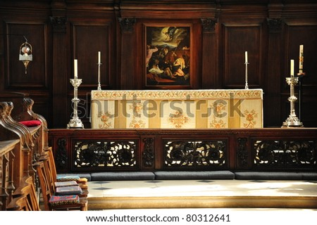 The alter of an old church  in Oxford, Great Britain