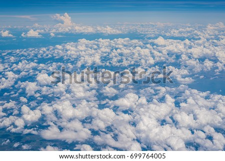 The Altocumulus cloud formation view from aircraft window #699764005