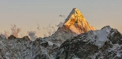 The Ama Dablam peak at sunset - Everest region, Nepal, Himalayas