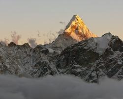 The Ama Dablam peak at sunset - Nepal