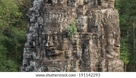 The amazing faces at the Bayon temple, Siem Riep, Cambodia./The amazing faces at the Bayon temple, Siem Riep, Cambodia./The amazing faces at the Bayon temple, Siem Riep, Cambodia.