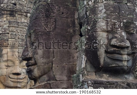 The amazing faces found at The Bayon Temple, Angkor Thom, Cambodia./Faces at The Bayon, Angkor Wat, Cambodia./The Bayon