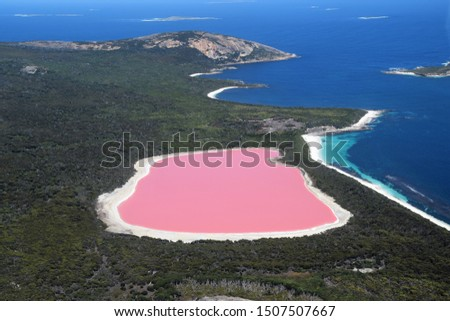 The amazing Lake Hillier, so-called Pink Lake, famous landmark of Australia. Pink Lake is located near Esperance, Cape Le Grand National Park, in Western Australia. Aerial view.