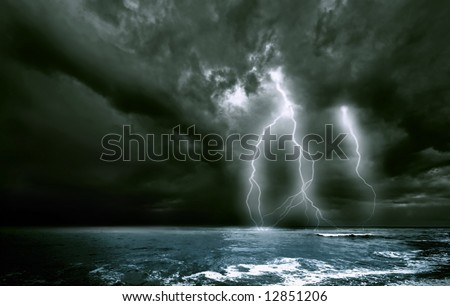 the amazing lighting storm landscape - stock photo