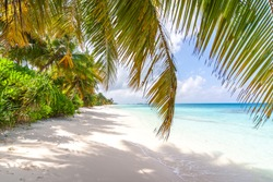 The amazing long white sand beach of Dhigurah, Maldives
