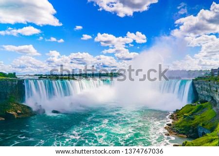 The amazing Niagara Falls is renowned for its beauty and is the collective name for three waterfalls that straddle the international border between Canada and the USA. #1374767036