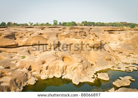 The Amazing of Rock,Natural of Rock Canyon in Khong River after the water come down in Summer,Three Thousand Hole,North East of Thailand