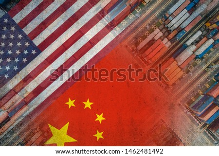 The American and Chinese flags imposed over shipping containers representing trade between the two countries. #1462481492