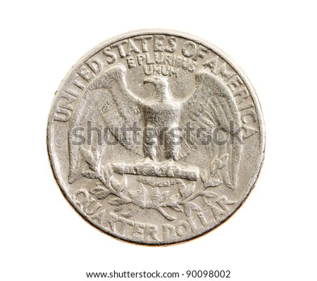 The American coin in 25 cents, isolated on a white background
