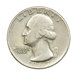 The American coin in twenty five cents