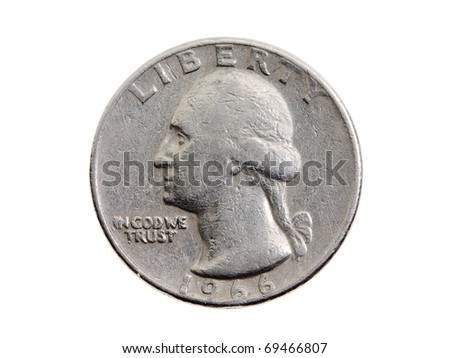 The American coin in twenty five cents (isolated)