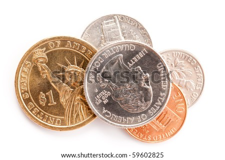 the american coins on white background - stock photo