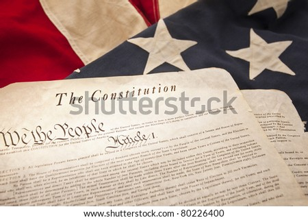 The American Constitution on a flag background (Selective Focus)