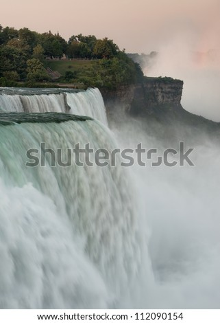 The American Falls from the Prospect Point Viewing Area in Niagara Falls State Park in Niagara Falls, New York