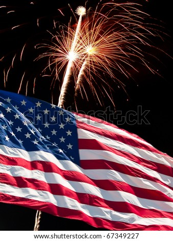 The American Flag and Fireworks from Independence Day