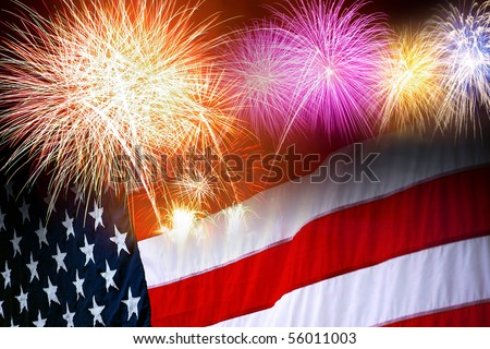 The American flag and fireworks in the independence day celebration