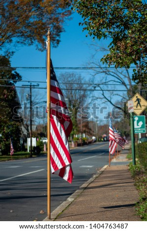 The American Flag displayed roadside during a Veterans Day Parade #1404763487