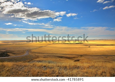 The American prairie in clear autumn day