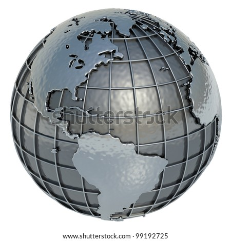 The Americas. The Planet Earth made of metal on a white background.