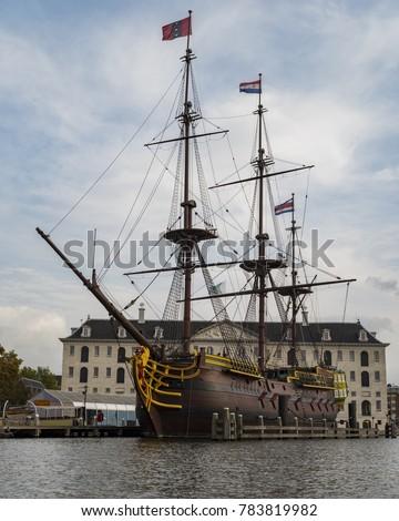 The Amsterdam, three-masted ship, clipper ship, replica, Dutch East India Company ship, Maritime Museum, Amsterdam, Holland, Netherlands, Europe Stockfoto ©
