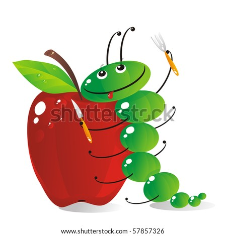 The amusing green caterpillar is going to have dinner the big red apple - stock photo