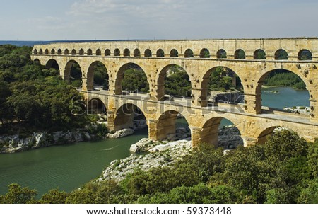 """The ancient aquecuct """"Pont du Gard"""" in France - stock photo"""